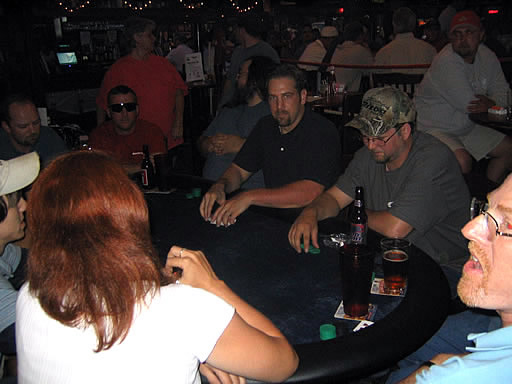 April 20, 2004: Brad Fuller deals to members of the Atlanta Poker Club at their first event.